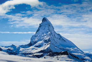 Photo of a snowy mountain scenery in Switzerland
