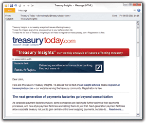 Screenshot of Treasury Today Treasury Insights weekly newsletter