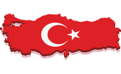 Map of Turkey with the Turkish flag on it