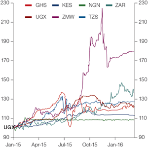 Chart 1: African local currency fluctuation against the USD