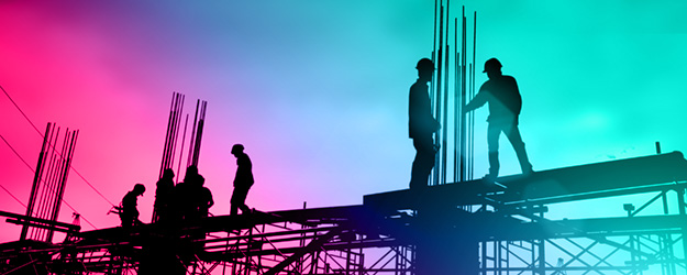 Header image of silhouette builders and engineers working on a construction site