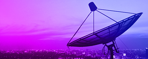 Header image satellite dish above city