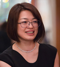 Portrait of Bonnie Yang, Alibaba during the drinks reception
