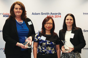 Best Cash Management Solution, Winner – Cathy Fields and Elsie Mok, Hitachi Data Systems Corporation and Dianne Challenor, J.P. Morgan.