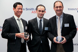 Best Liquidity Management/Short-Term Investing Solution, Highly Commended – Matthieu Raffestin and Michael Suelin of Sonepar Group Asia Pacific and William Zee of RBS.