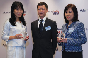 Best Liquidity Management/Short-Term Investing Solution, Highly Commended – Chew Puay-Hoon and Taro Nozawa, Dimension Data Holdings with Minako Stryer of J.P. Morgan.