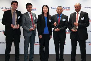 Best Foreign Exchange Solution, Winner – Mahesh Srivastava and Hui (Helen) Chen, Ingredion Incorporated, Ramesh Swamy of J.P. Morgan, Sunder Iyer of Bank of America Merrill Lynch and Nicolas Adjemian of Reval.