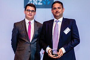 Best Trade Solution, Highly Commended Winner – James Hayward with Chetan Talwar, J.P. Morgan who collects on behalf of China Merchants Logistics.