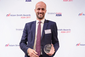 Best Trade Solution, Highly Commended Winner – Thomas Aubry, Citi, collects the award on behalf of Hindustan Unilever Limited.