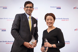 Best Solution in China, Overall Winner – Manoj Dugar, J.P. Morgan and Wei Li-Tuomela, Stora Enso China Co Ltd.