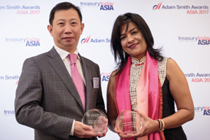 Best Solution in China, Highly Commended Winner – Photo of Li Bing, Juneyao Air Co Ltd and Namita Lal, Standard Chartered.