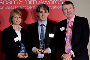 Harnessing the Power of Technology, Winner – Theresia Brink (Wall Street Systems), Ian Johnson and Richard Parkinson.