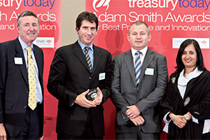 Global Liquidity Management, Highly Commended – Photo of Richard Parkinson, Gavin O'Donoghue and Nigel Coffey, Pfizer, Swati Mitra, Citi.