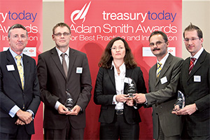 Best SEPA Solution, Winner – Photo of Richard Parkinson, Claus Wild, Barbara Herbert and Armin Wittemer, Commerzbank and Steffen Karsch, SAP.