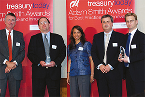 Best Corporate Debt Solution, Winner – Richard Parkinson, Rick Martin, Ruchi Kaushal and Dominic Beattie from Virgin Media and Nick Jansa, Deutsche Bank.