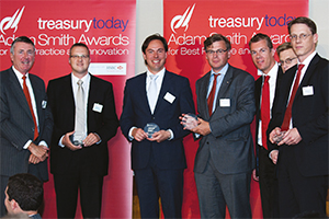 Best Corporate Debt Solution, Highly Commended – Richard Parkinson, Steffen Diel, Cefas van den Tol, ING, Jan Dirk van Beusekom, BNP Paribas, Nick Jansa, Deutsche Bank and Wolfgang Zauner, J.P. Morgan.