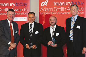 Mid-market Treasury, Winner – Richard Parkinson, Alexandre Simon, Thierry Kreins, Flagstone Re and Paul Wheeler, Wall Street Systems.