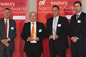Best SEPA Solution, Winner – Richard Parkinson, Thorsten Brühl, Markus-Maria Hoffmann and Karsten Becker from Deutsche Bank.