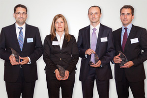Best Cash Management Solution, Winner – Jörg Bermüller, Tanja Verseck, J.P. Morgan, Jörg Konrath, BNP Paribas and Thomas Eberle, Deutsche Bank.