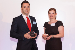 Best Short-Term Investment Strategy, Highly Commended – Mark Slaviero, Mattioli Woods accepting on behalf of Nathan Imlach, with Suzanne Burgoyne, Lloyds Bank.