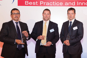 One to Watch, Winner – Max Pell, Xchanging, Daniel Ferguson from RSA Insurance accepting on behalf of William McDonnell, Paul Duffy, Deutsche Bank.