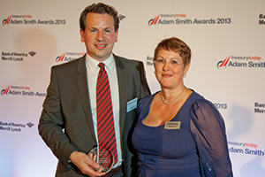 Best Cash/Liquidity Management Solution, Highly Commended – Martin Cussen, Gilead Sciences collecting on behalf of Brad Vollmer and Joy Macknight.