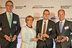 Best Financing Solution, Highly Commended – Rainer Wagner, Deutsche Bank, Dympna Donnelly and Steffen Diel from SAP, Matthias Reschke, J.P. Morgan.