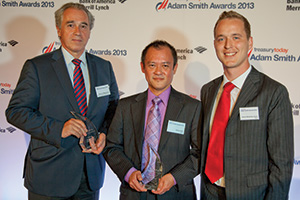 Best MME/SME Treasury Solution, Winner – Pierre de Montessus, Bank of America Merrill Lynch, James Koh and James Westerby-Jones from Vertu.