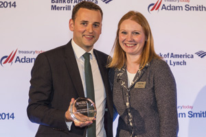 Chris Jameson, Bank of America Merrill Lynch collecting the Award on behalf of Marco Bigatti and Eleanor Hill.
