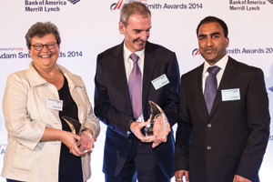 Brigitta Keller of Citi, Mike Foye and Vivek Reddy of Mondelēz collecting the Award on behalf of Tom Jack.