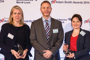 Sophie Polednik of Bank of America Merrill Lynch, Christoph Guettinger and Brenda Connell of Worley Parsons collecting the Award on behalf of Simon Holt.