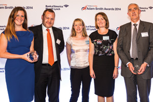 Lucy O'Grady, Dawn Warmington and Rosa Legassick of Severn Trent Water collecting the Award on behalf of Stephen Baseby, with Martin Baker and Jamie Hills of Barclays.