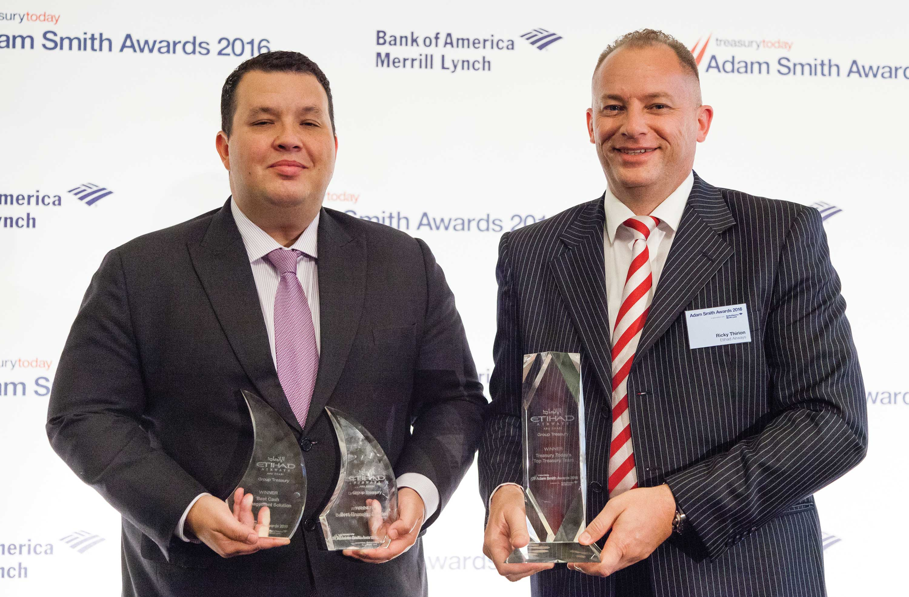 Treasury Today's Top Treasury Team 2016, Winner – Photo of Adam Ben Boukadida and Ricky Thirion, Etihad Airways.
