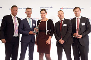 Treasury Today's Top Treasury Team 2016, Highly Commended – Photo of Klaas Springer, Jeroen Brieffies, Marije Siebenga, David Tillmanns, Royal FrieslandCampina and Michiel Reijnoudt, Citi.