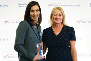 Treasury Today Woman of the Year 2016, Highly Commended – Photo of Kate Oddo, Toyota Financial Services and Angela Berry.