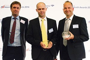 Best Cash Management Solution, Highly Commended – Photo of Henrik Jørgensen, Nordea, Stefan Windisch and Marcus Facciola, F. Hoffmann-La Roche.