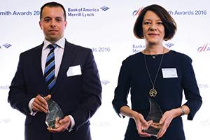 Best Liquidity Management Solution, Winner – Photo of Dimitrios Raptis, Citi and Oya Gür, Coca-Cola HBC AG.