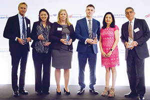 First Class Relationship Management, Winner – Photo of Craig Lewis, J.P. Morgan, Meggie Chichioco, Wells Fargo, Isabelle Cote, Citi, Jose Luis Marti and Anita Prasad, Microsoft and Mohit Manaktala, Bank of America Merrill Lynch.
