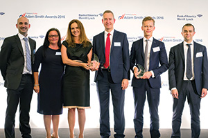 Best Working Capital Management Solution, Winner – Photo of Steven Ramsey, Mel Holbrook, Nadia Pelekanos and Nick Feaviour, DS Smith, Erik Savola and Kyle Ramey, Citi.