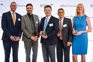 Best AR Solution, Highly Commended – Photo of Sacha Deal, HSBC, David Meunier and Dan Ludlow, Microsoft, Mohit Manaktala, Bank of America Merrill Lynch and Barbara Harrison, Citi.
