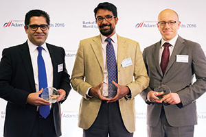 First Class Relationship Management, Highly Commended – Photo of Sanjay Sethi, Citi, Ashwin Ramji, World Vision International and Daniel Hanna, Standard Chartered.