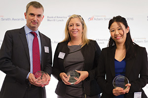 First Class Relationship Management, Highly Commended – Photo of Simon Jones, J.P. Morgan, Isabelle Cote, Citi and Jennifer Wan, Bank of America Merrill Lynch.