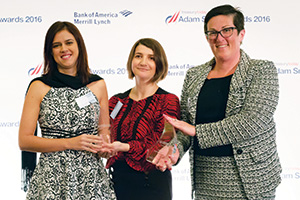 Best Card Solution, Winner – Photo of Juliana Garcia Caceres, Alessandra Segatelli, Herbalife and Mel Gargagliano, Bank of America Merrill Lynch.