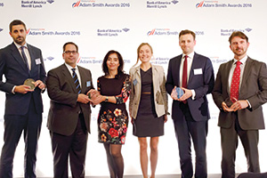 Harnessing the Power of Technology, Highly Commended – Photo of Steve Elms, Citi, John Taxiarchos, Maria Gonzalez, Anna Kotina, Hasbro, Chris Jameson, Bank of America Merrill Lynch and James Mitchell, Reval.