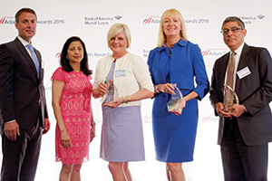 One to Watch, Winner – Photo of Neil Doyle, Anita Prasad and Jayna Bundy, Microsoft, Barbara Harrison, Citi and Mohit Manaktala, Bank of America Merrill Lynch.