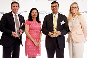 Best in Class Treasury Solution in the Middle East, Winner – Photo of Martin Scott, HSBC, Anita Prasad, Rahul Daswani and Taru Rintamaki, Microsoft.
