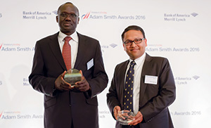 Best in Class Treasury Solution in Africa, Highly Commended – Photo of His Excellency Lazarus Amayo, Kenya High Commision and Amit Agarwal, Citi.
