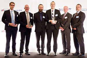 Best SWIFT Solution, Winner – Photo of Jan Obermeier, Standard Chartered, Ulf Kålbäck, Nordea, Mo Hamdan, Benedikt Zimmerman-Kuehne, Kuehne + Nagel, John Murray, Citi and Tamas Csomo, Kuehne + Nagel.