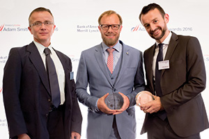 Best SWIFT Solution, Highly Commended – Photo of Zsolt Tajti and Marco Brähler, F. Hoffmann-La Roche and Heiko Schwalb, Euroclear.
