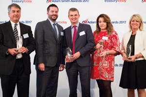 Top Treasury Team 2017, Highly Commended – Photo of Jonathan Burkhead and Brian Leibforth, Open Text Corporation, Simon Jones, J.P. Morgan, Paula McCool, Citi and Lesley White, Bank of America Merrill Lynch.